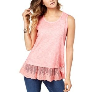 Style & Co Embroidered Flounce Tank Top Size S